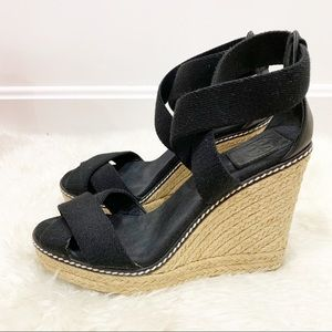 Tory Burch Adonis espadrille wedge Black Sz 7